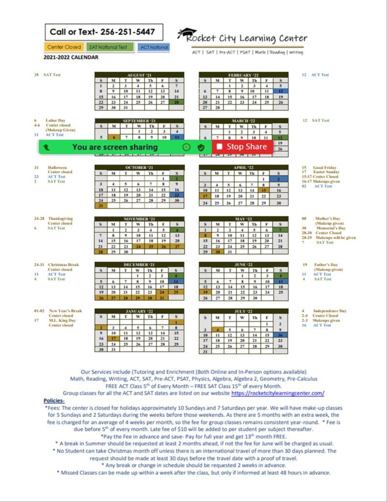 RLC Calendar 2021 22